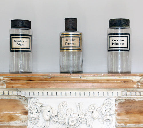 SOLD.A Set of Three Glass Apothecary Jars