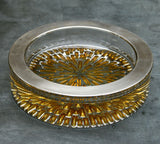 A Superb 1970's Sterling Silver and Yellow Cut Glass Ashtray
