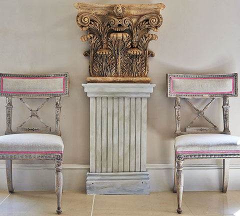 A set of painted Swedish dining chairs