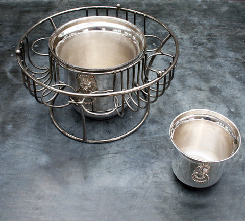 A Silver Carlton Hotel Champagne & Glass Holder with Two Ice Buckets