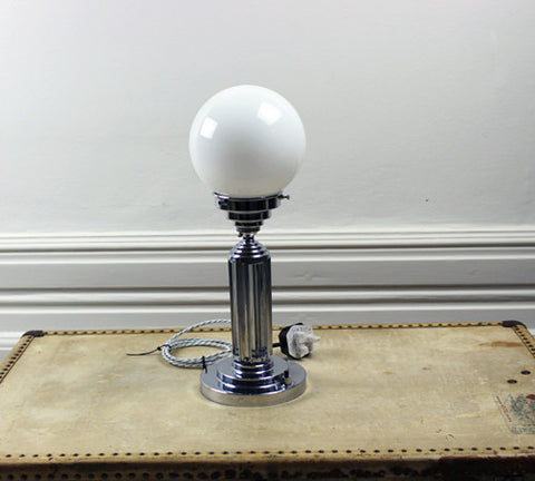 A glass and chrome French Deco desk lamp