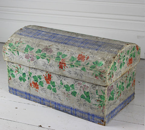 A large, hand decorated French marriage box with beautiful interior