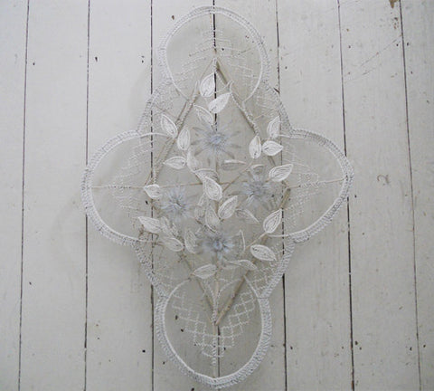 Stunning Antique Flower and Leaf Beadwork Wreath in white and pale blue