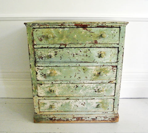 Antique French Green Painted early 19th C Chest of Drawers