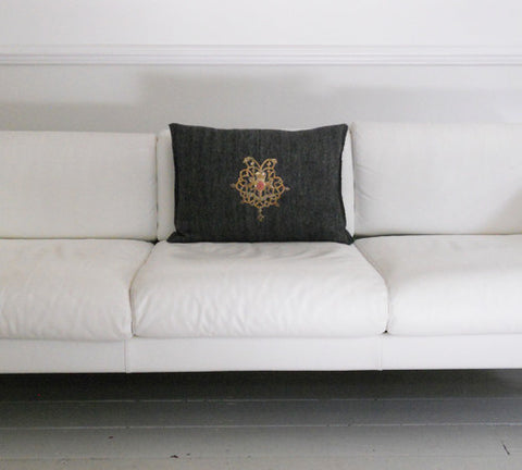 Charlotte Casadejus Pair of Grey Cashmere cushions with Antique Gold Embroidery