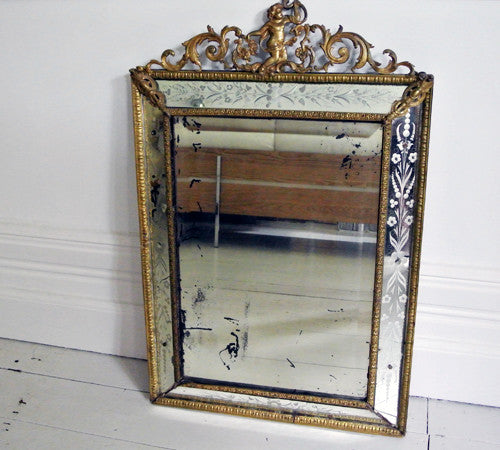 Brass and Etched Glass Large Mirror