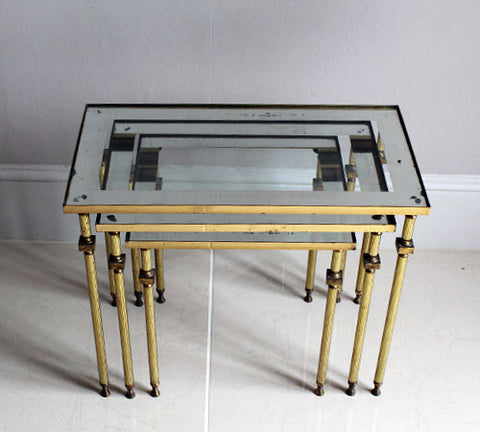 Nest of 1970s Brass and Mirrored Glass Tables