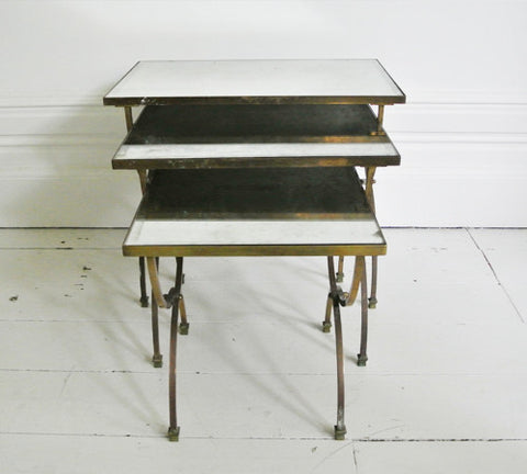 Nest of 1950's Tables in Brass and Mirrored Glass