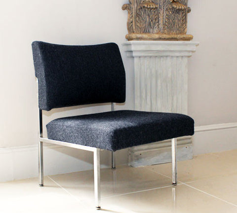 A Pair of 60's Chrome Upholstered Chairs – Dark Grey Wool
