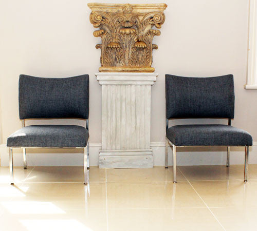 A Pair of 60's Chrome Upholstered Chairs – Mid Grey Linen