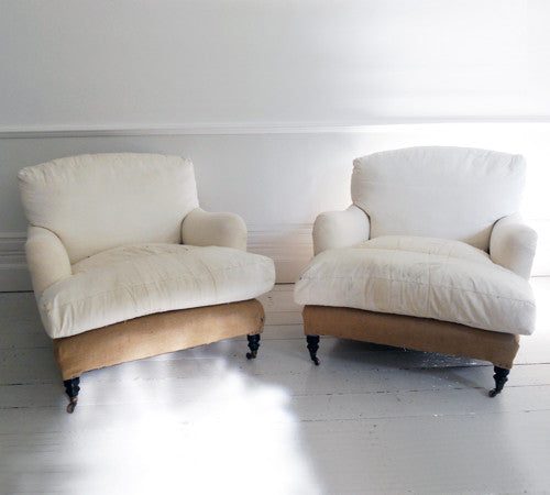 SOLD.A Pair of Large Howard & Sons Lvor Style Armchairs