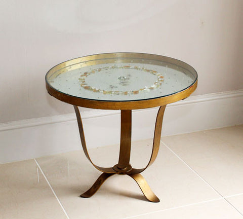 Superb 1930's Mirrored, Decorated Round Brass/Gold Table