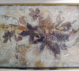 Exceptional Vintage French Pale Gold 1940's Tray Table with Leaf Pattern Top