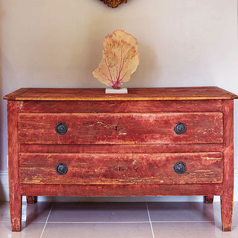 A Pink Painted 19th Century Commode