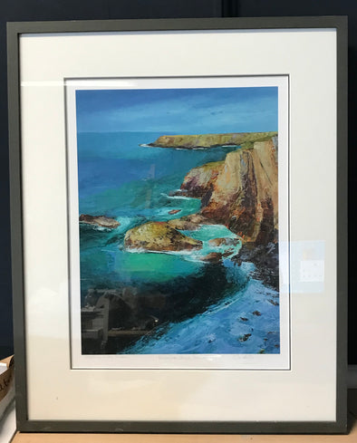 Standing in The shadow, Framed, Signed Limited Edition print, Bedruthan Steps, Cornwall