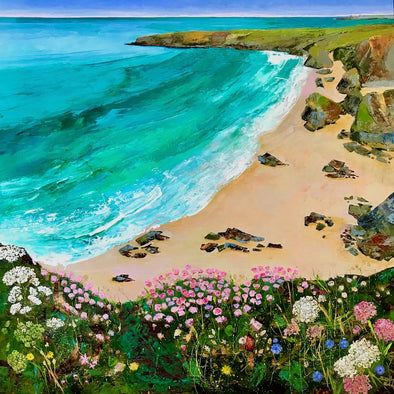 Bedruthan Steps Cornwall Original Oil Painting Sitting amongst the thrift