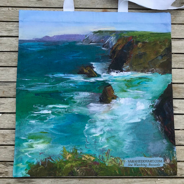 Sea Watching, Boscastle Cornwall-Cotton bag