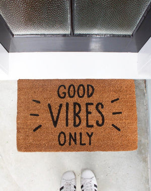 Good Vibes Only Black Text Doormat