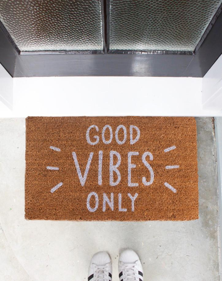 Good Vibes Only White Text Doormat