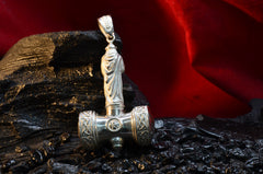 "Sterling Silver Thor's hammer pendant ""THOR"""