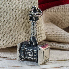 "Sterling Silver Thor's hammer Pendant ""DESTROYER WITH WOLF HEAD"""