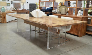 Dunsborough Dining Table  Marri with Acrylic Base  Also available in Jarrah  Straight or Natural Edge Top  WA Made
