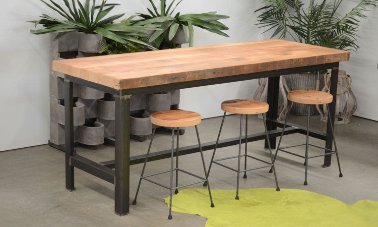 Old London Collection Recycled Baltic Pine Industrial Bar Table