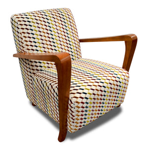 Retro Mid Century styled Funky Fabric Upholstered Occasional Chair with solid timber armrests