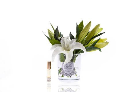 Cote Noire Lily Bulbs in Clear Glass Ivory