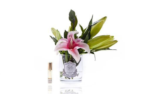 Copy of Copy of Cote Noire Lily Bulbs Pink In Clear glass