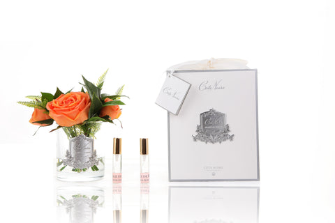 Coral Woodland Rose Clear Glass