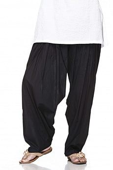 Black Pain Cotton Patiala Salwar Pants