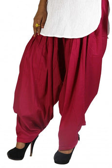 Majenta Pink Pain Cotton Patiala Salwar Pants