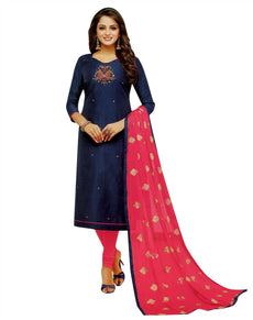 Ladyline Plain Silk Handworked Salwar Kameez with Chiffon Embroidered Dupatta Indian Dress