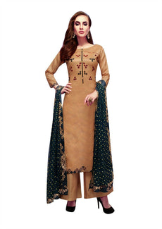 Ladyline Royal Silk Sober Embroidered Partywear Salwar Kameez Womens Ready to Wear Palazzo Pants Indian Dress