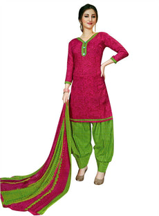 Readymade Ethnic Cotton Printed Salwar Kameez Suit with Patiala Salwar & Chiffon Dupatta