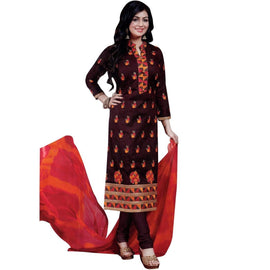 Readymade Elegant Embroidered Cotton Salwar Kameez Suit