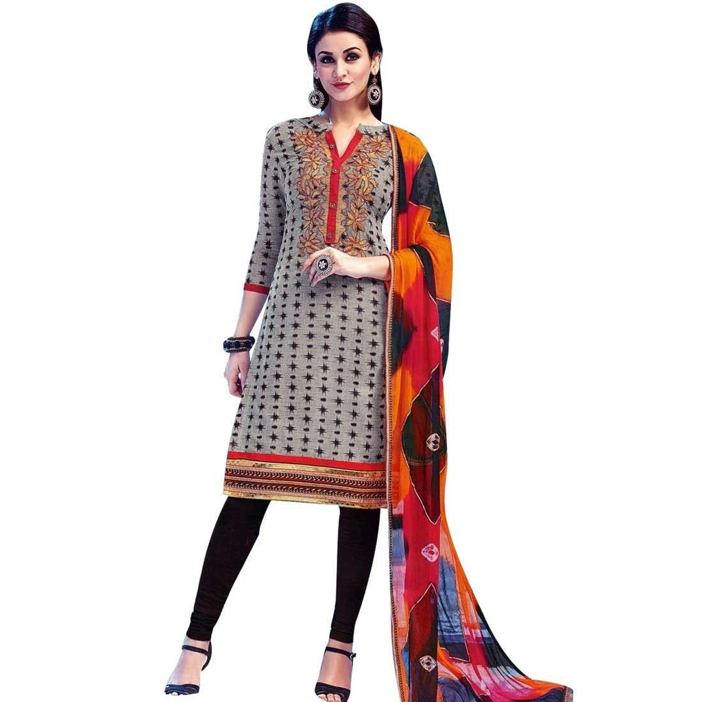 Ready to Wear Cotton Embroidered Salwar Kameez, Print, Casual, Evening Rich Dupatta