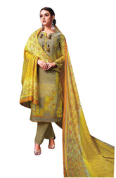 LADYLINE Ethnic Salwar Kameez Pure Cotton Printed with Embroidered Dupatta Straight Pants Ready to wear