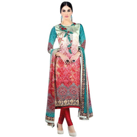 Bollywood Partywear Satin Crepe Printed Embroidered Salwar Kameez