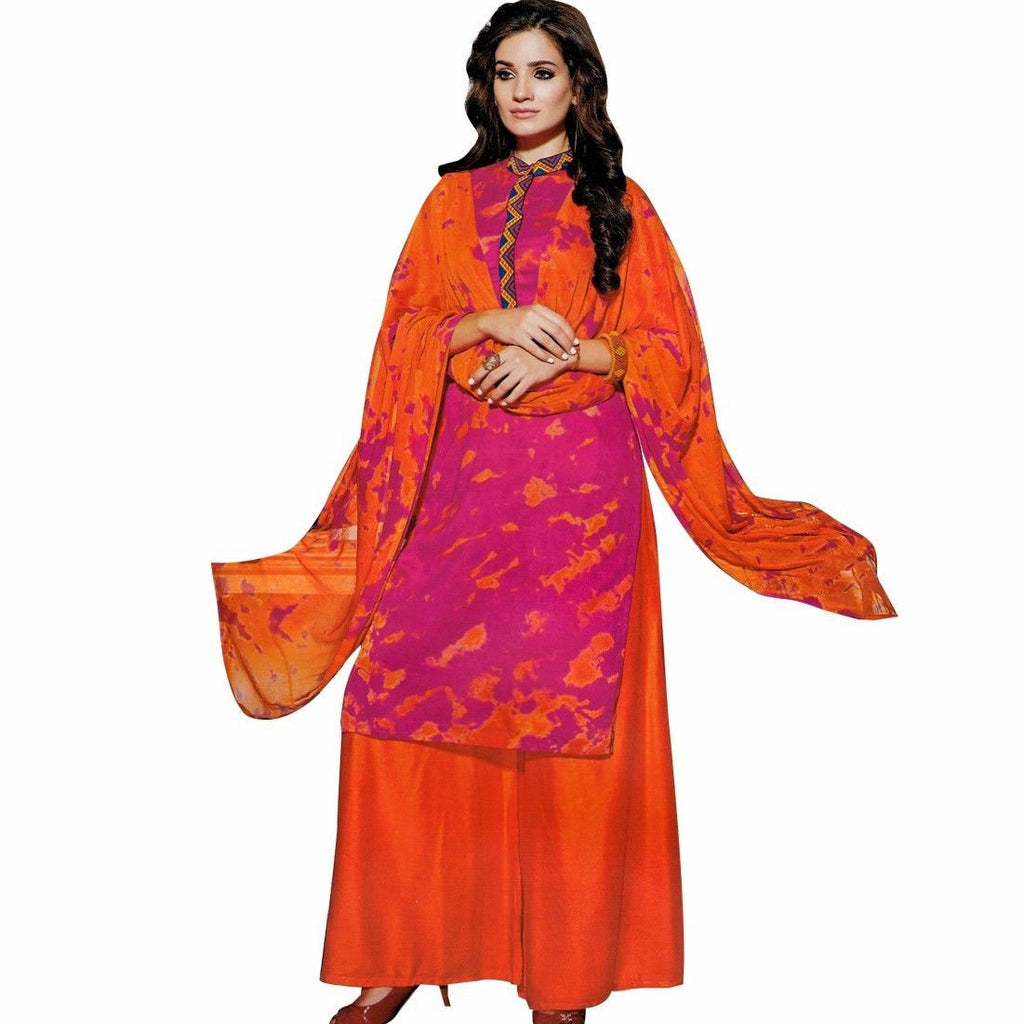 Bollywood Tie Dye Salwar Kameez with Palazzo Pants- Embroidered