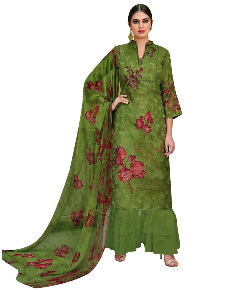 fae53cbe23 LADYLINE Salwar Kameez Viscose Cotton Embroidered with Palazzo Pants W
