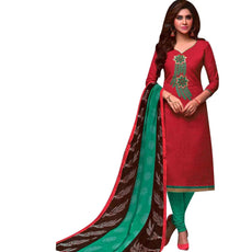 LADYLINE Cotton Embroidered Salwar Kameez with Chiffon Printed Dupatta