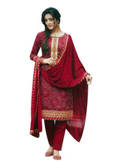 Ladyline Bandhani Printed Zari Embroidered Cotton Salwar Kameez with Silk Dupatta Handwork Lace