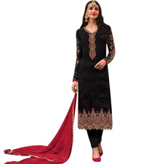 LADYLINE Womens Long Salwar Kameez Wedding Partywear Georgette Embroidered