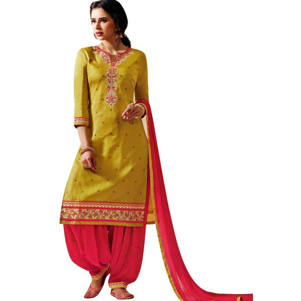 Readymade Cotton Patiala Embroidered Salwar Kameez Suit Indian