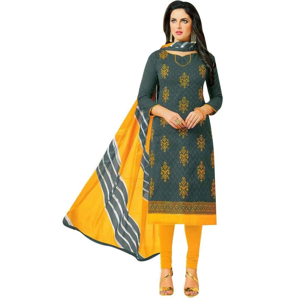 Readymade Rich Jacquard Cotton Embroidered Salwar Kameez Suit