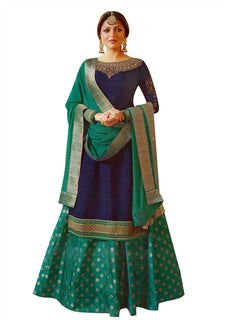 Ladyline Designer Partywear Salwar Kameez with Skirt Brocade Silk Wedding Ready to wear Indian Dress