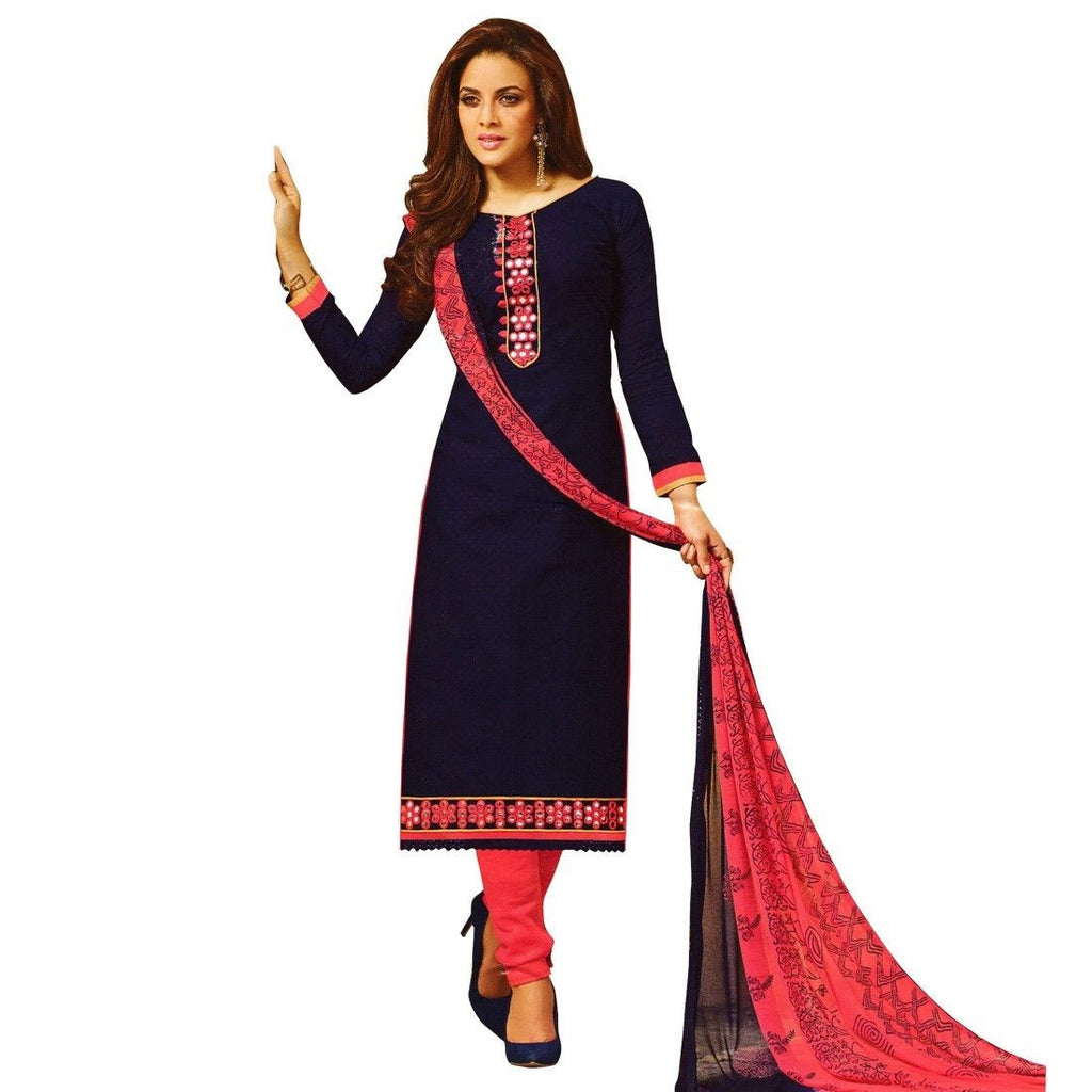 Readymade Mirror work Jaquard Cotton Embroidered Salwar Kameez Suit