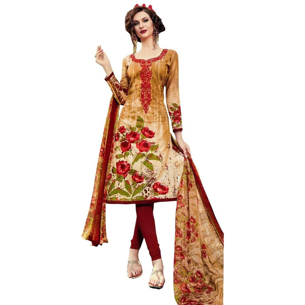 Readymade Cotton Printed Sober Embroidery Salwar Kameez Suit India
